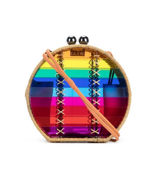 rainbow stripe circle shoulder bag