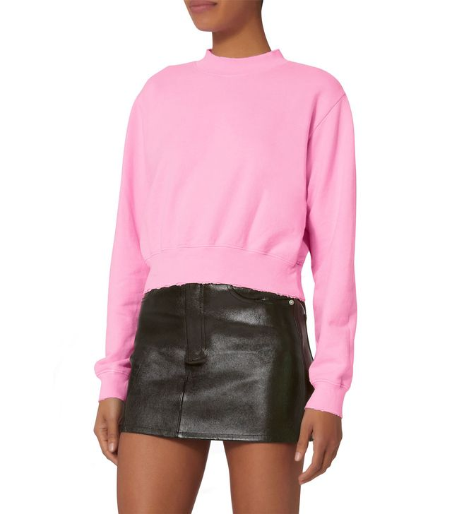 Cotton Citizen Milan Cropped Pink Sweatshirt Pink L