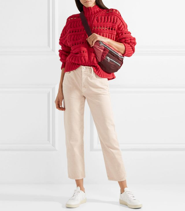 Zoe Oversized Open-knit Cotton-blend Turtleneck Sweater