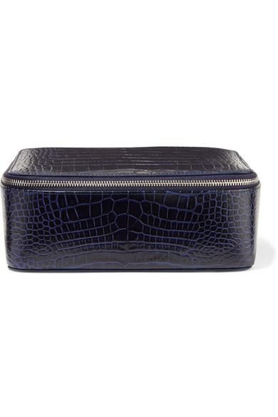 Mara Croc-effect Leather Jewelry Case