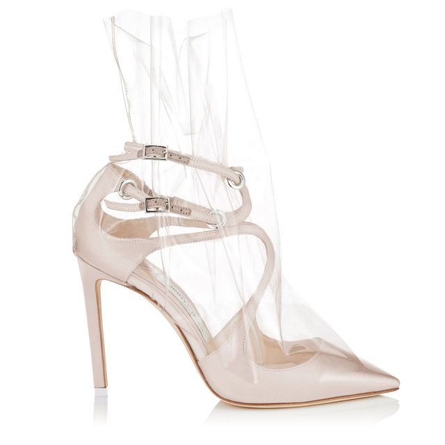 Off-White c/o Jimmy Choo White Satin Pointy Toe Pumps with Ruched TPU