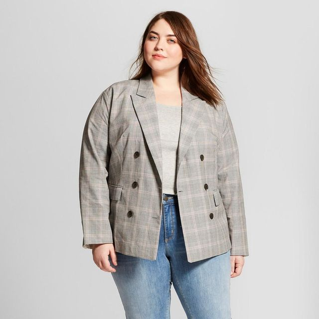 Plus Size Plaid Roll-up Cuff Poplin Blazer
