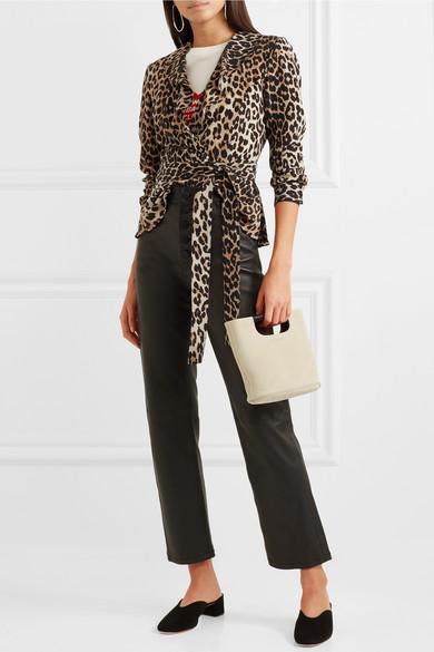 Ruffled Leopard-print Silk Wrap Top