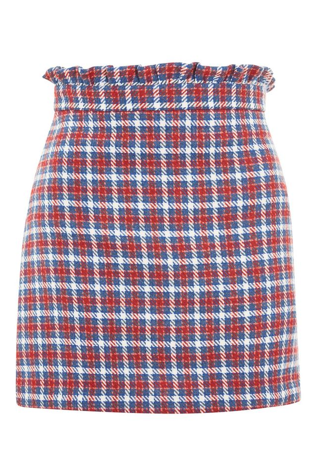 PETITE Checked Frill Waist Mini Skirt