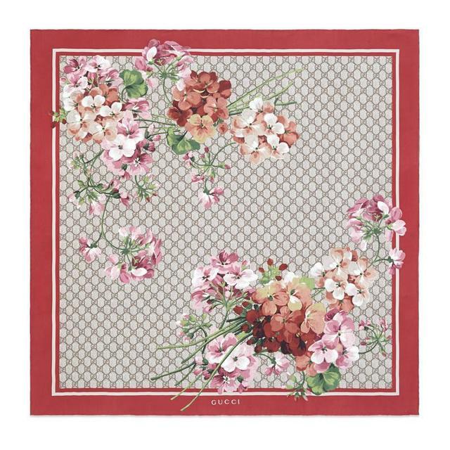 GG Blooms print silk scarf