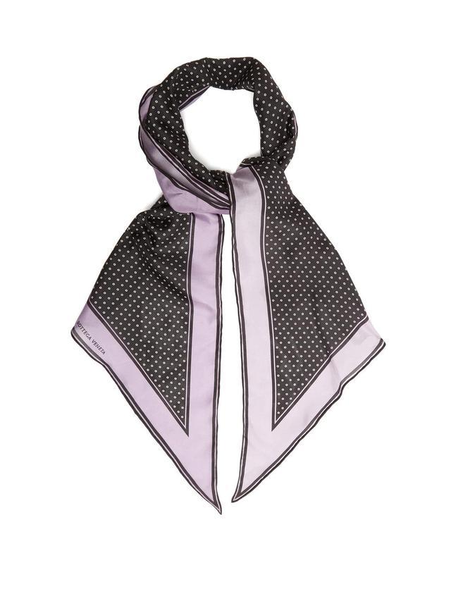 Polka-dot print silk scarf