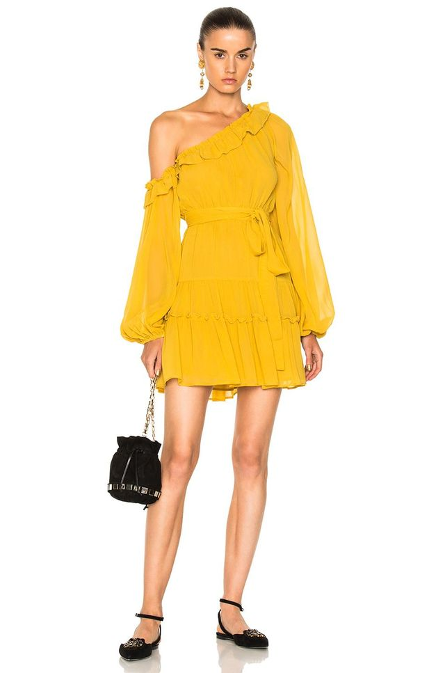 for FWRD One Shoulder Tiered Mini Dress