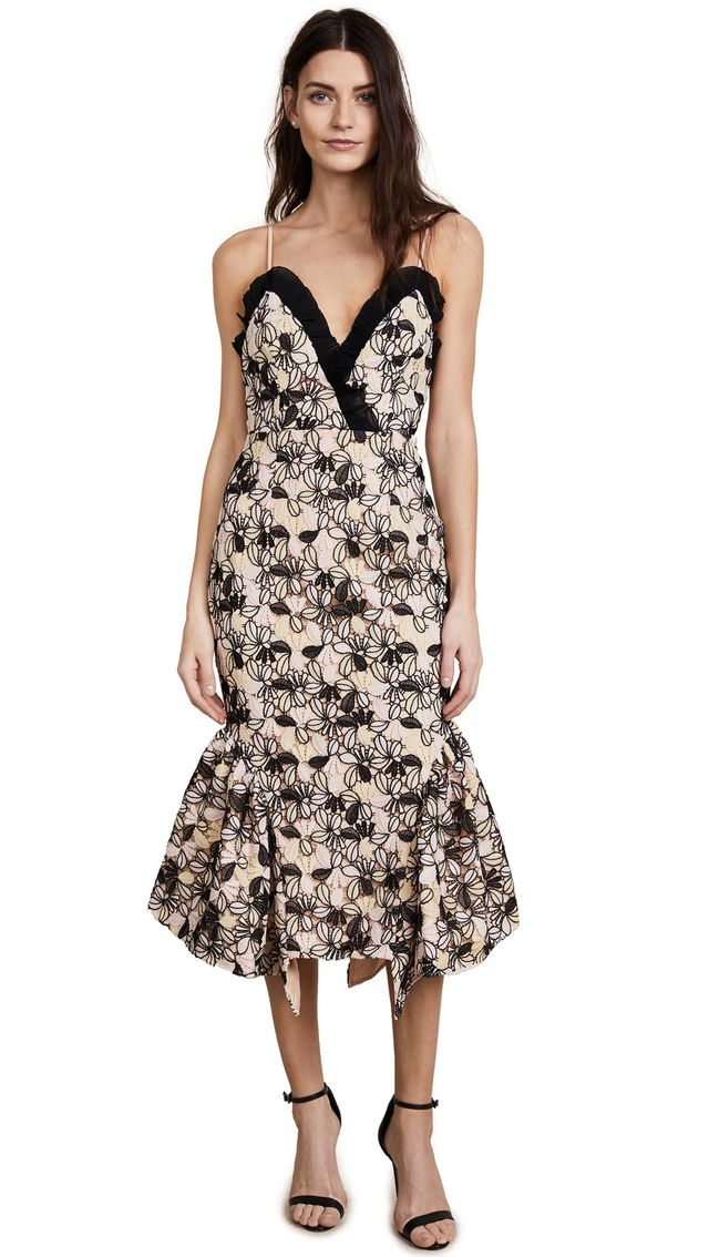 Eloquence Floral Strapless Midi Dress