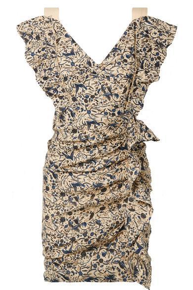 Topaz Ruffled Printed Linen Mini Dress