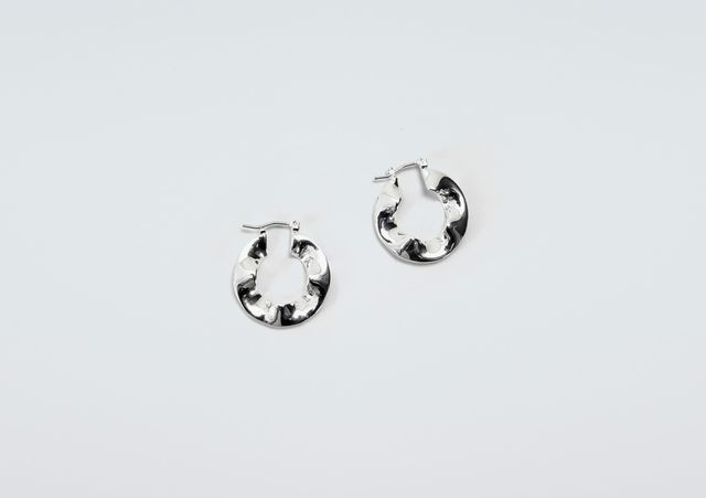 Finery London Blyne Crinkle Hoop Earrings