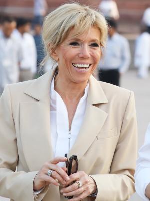 Brigitte Macron Wore a Power Suit to Visit the Taj Mahal