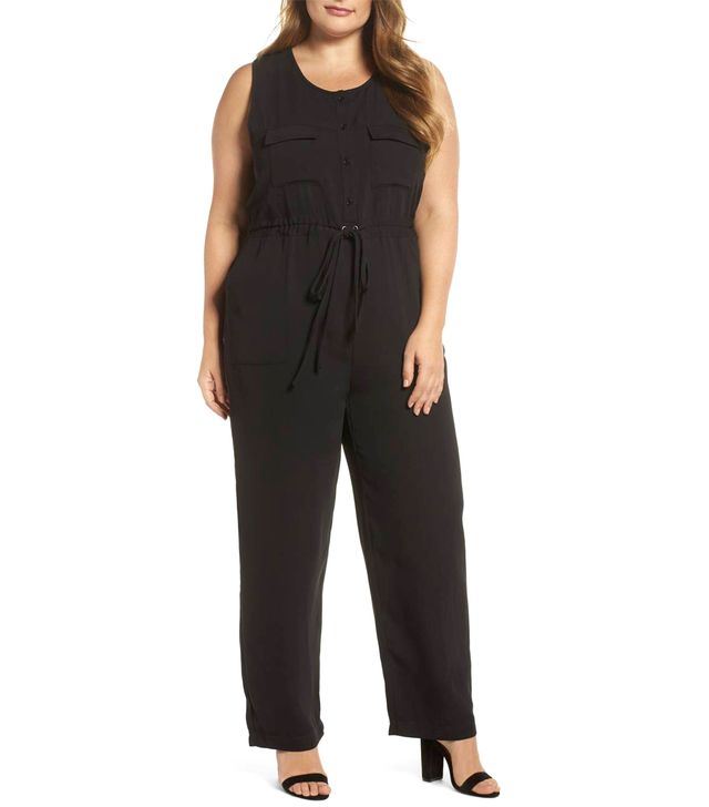 Plus Size Women's Glamorous Button Front Jumpsuit