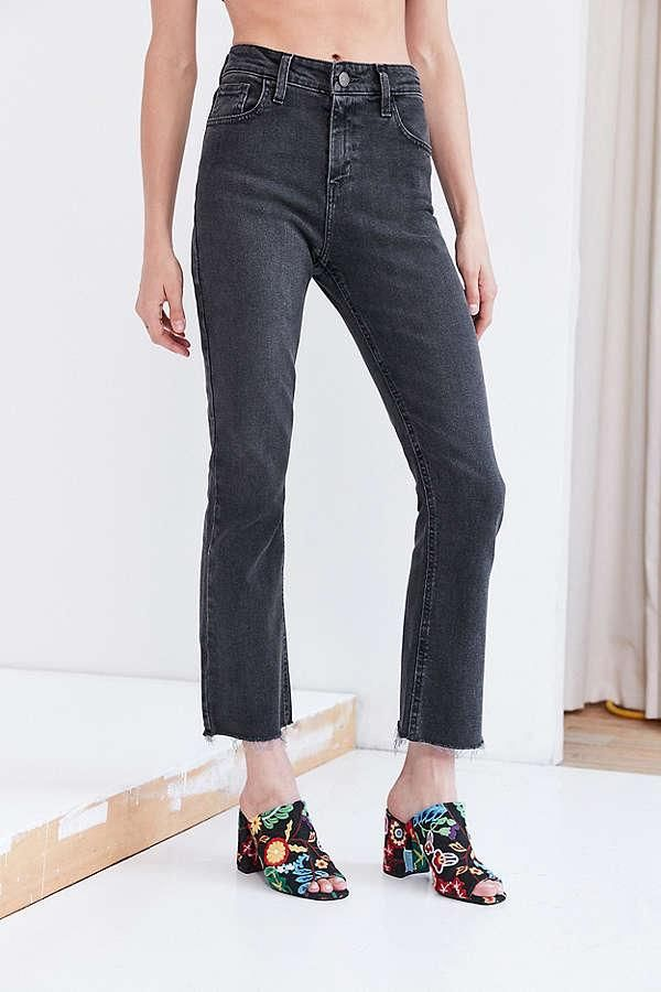 Kick Flare High-Rise Cropped Jean in Black