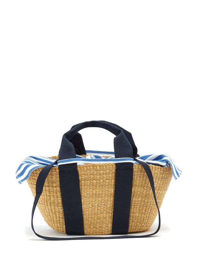 George striped-canvas and woven-straw tote