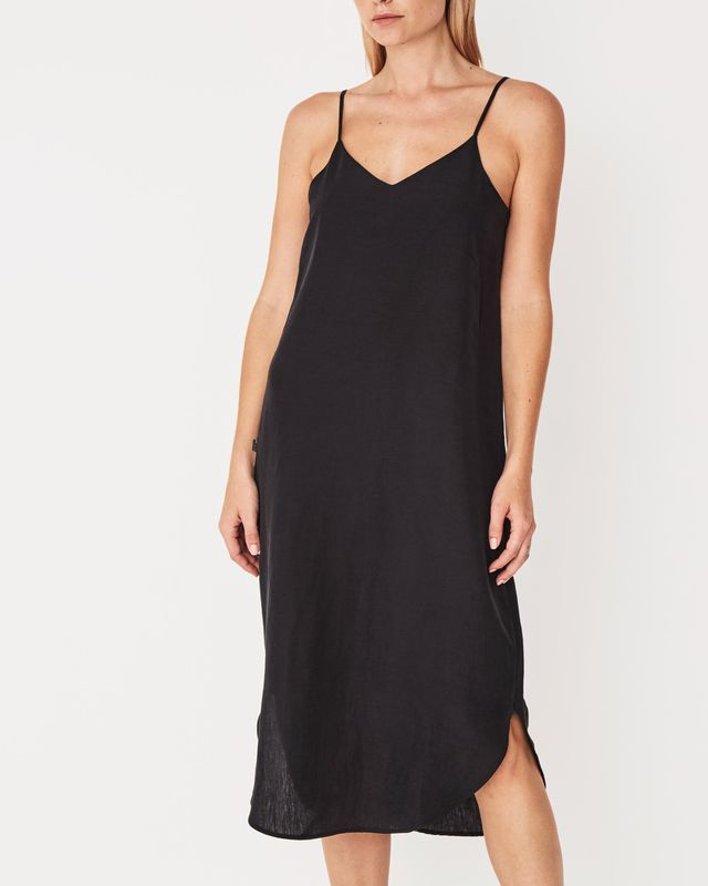 Assembly Label Silk Linen Camisole Dress in Black