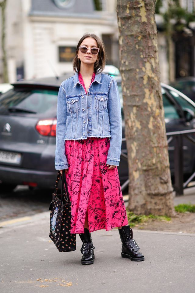 Add a denim jacket and combat boots to your favourite summer dress.