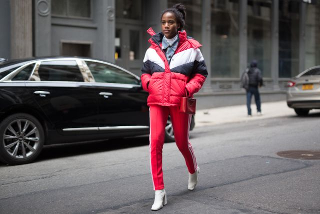 Coordinate a big puffer with some joggers for a look that sporty but chic.