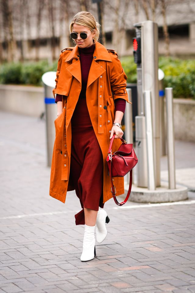Have we mentioned that white boots are in? Wear them with a strict colour palette to make them pop.