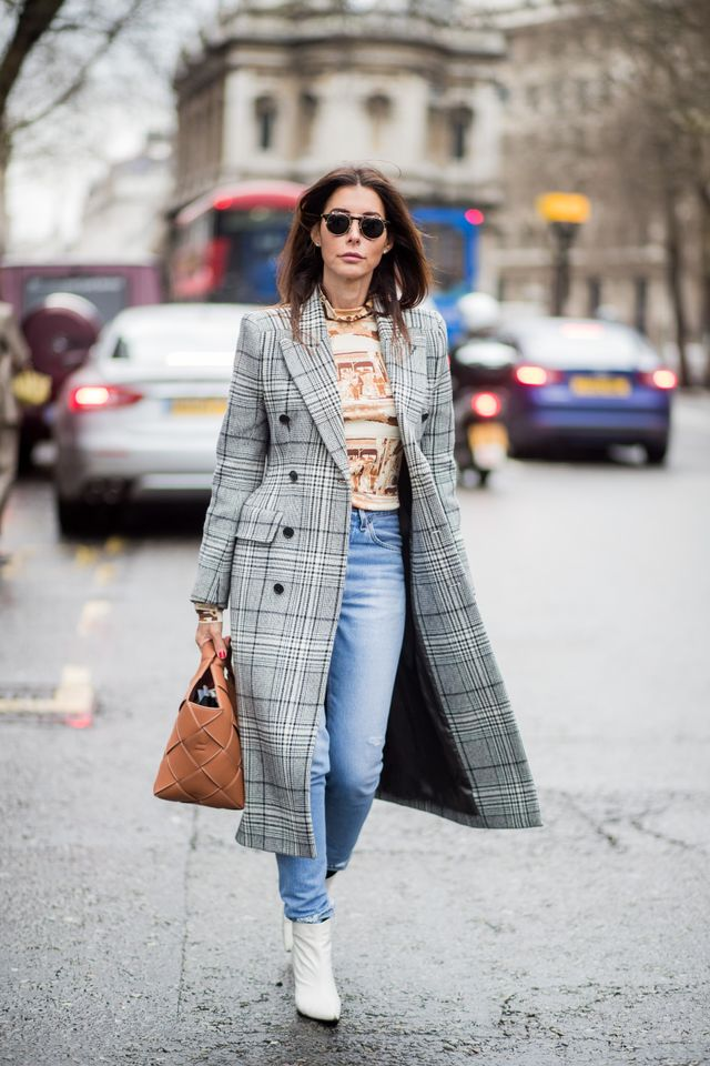 Take the checked blazer trend to new lengths with a long duster.