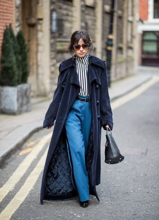 Master the art of high-low dressing by pairing luxe velvet with jogger style trousers.