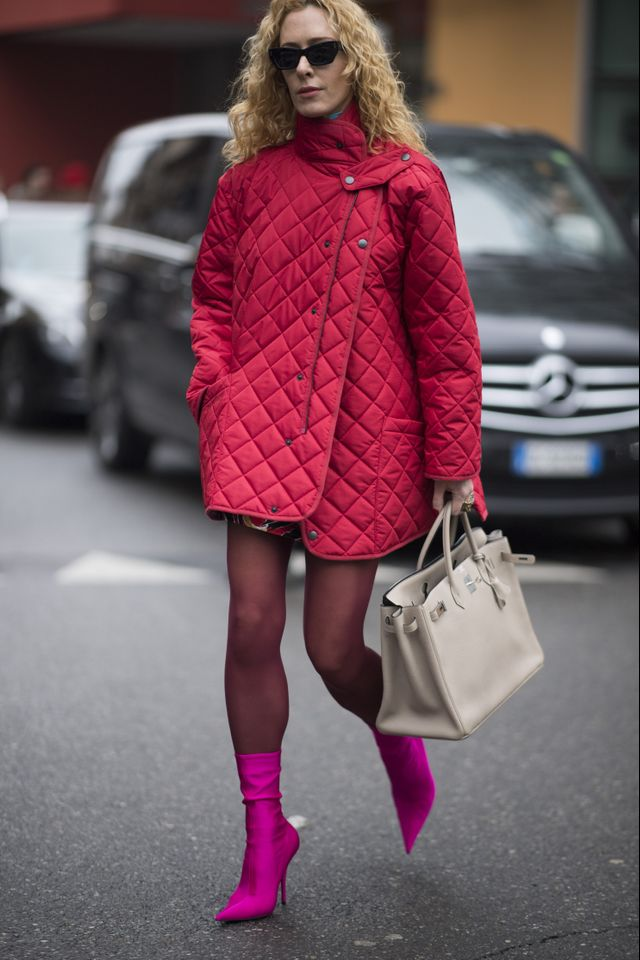 Don't be afraidof colours. Throw a bold coat over your outfit, bonus points if clashing occurs.