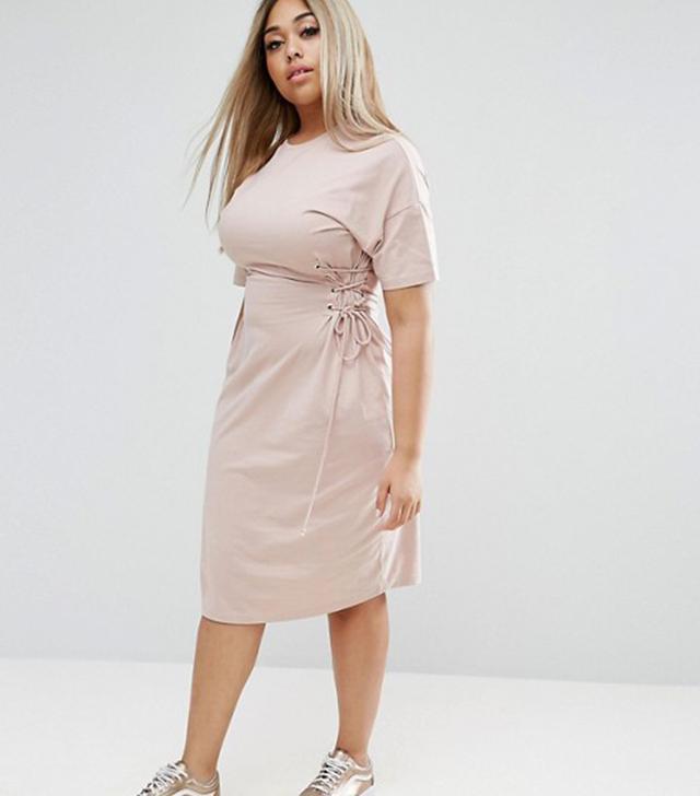 ASOS CURVE Midi T-Shirt Dress with Corset Detail
