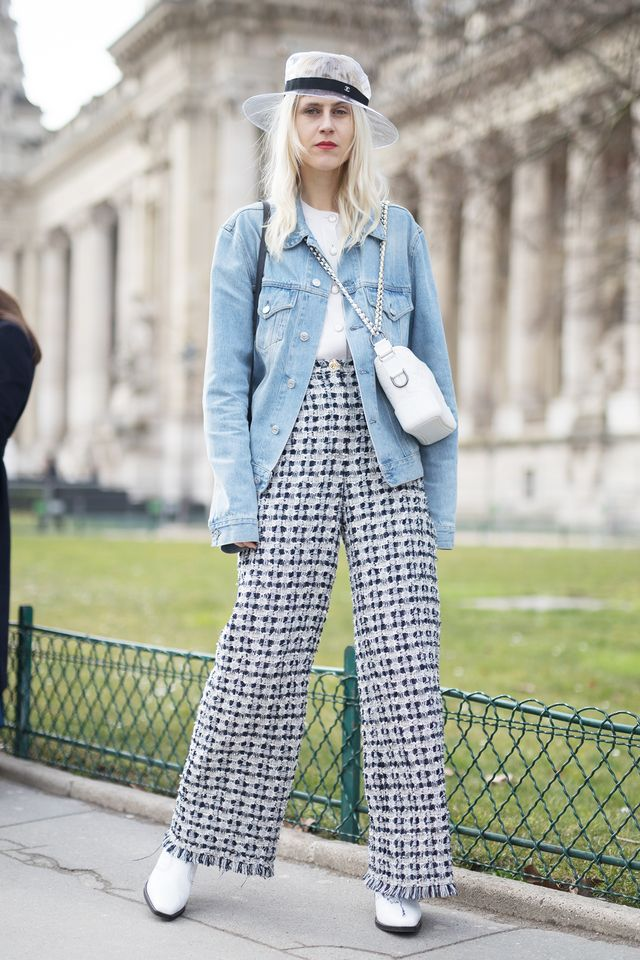 Dress down trousers with a denim jacket.