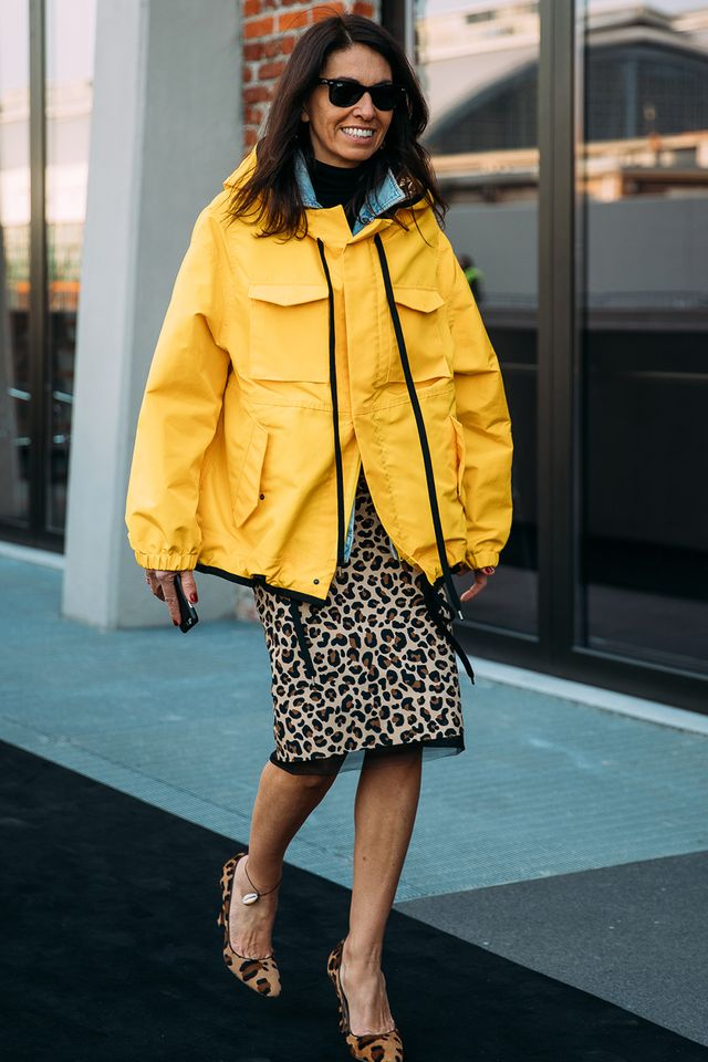 We love this mix of leopard with a parka.
