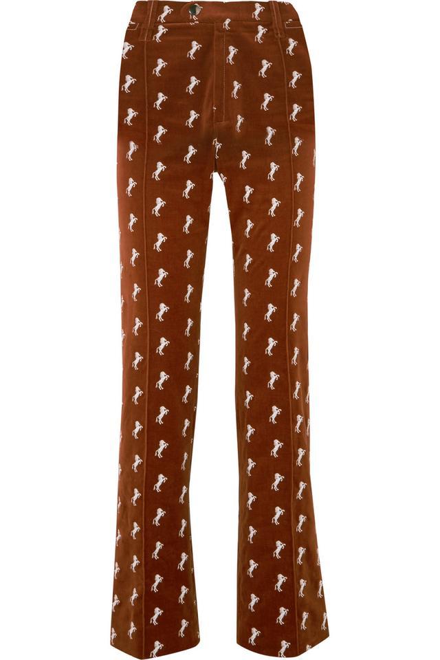 Embroidered Cotton-blend Velvet Straight-leg Pants