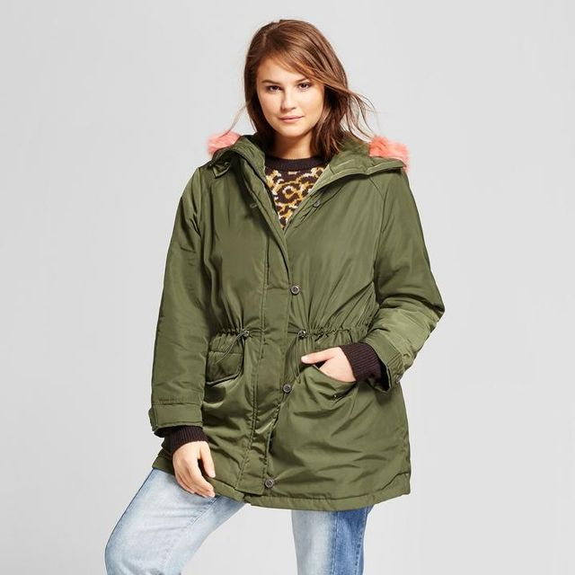Plus Size Faux Fur Trim Parka
