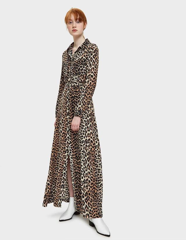 Fayette Silk Maxi Dress in Leopard