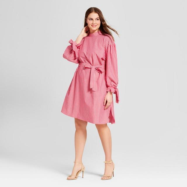Plus Size Striped Long Sleeve Mock Neck Dress