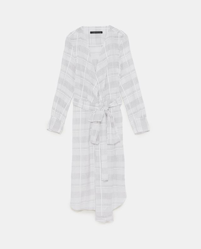 Zara Checked Tunic with Tied Belt
