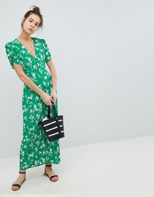 Button Through Maxi Tea Dress in Floral