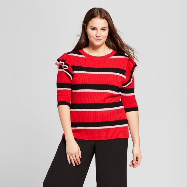 Striped 3/4 Sleeve Shoulder Frill Crew