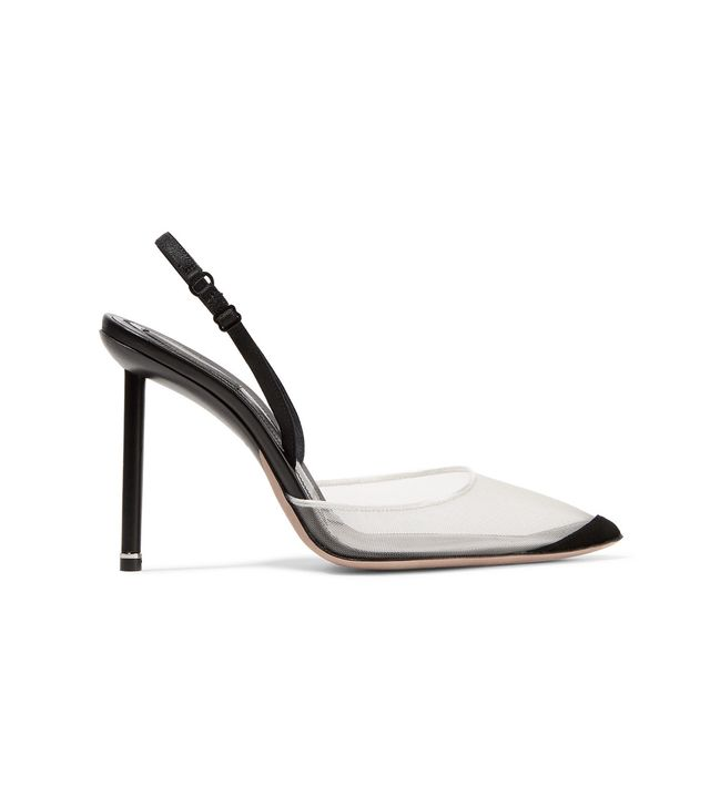 Alix Suede and Leather-Trimmed Mesh Slingback Pumps
