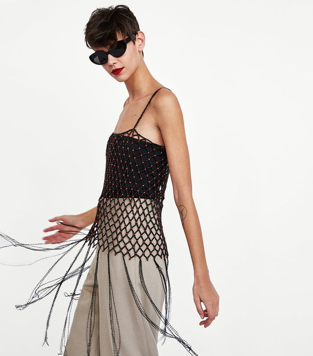 Zara Beaded Top With Fringing