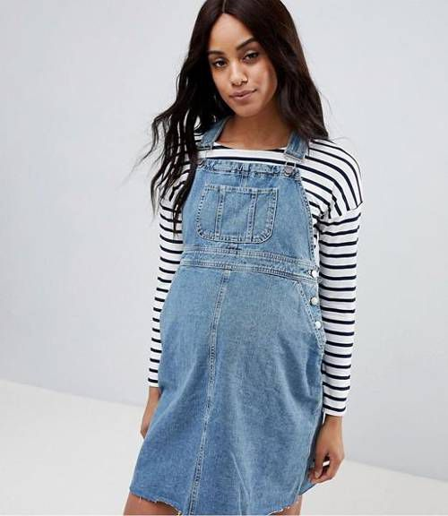 Denim Overall Dress in Midwash Blue