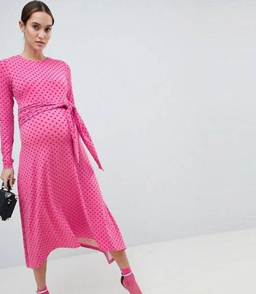 Tie Front Midi Dress in Polka Dot