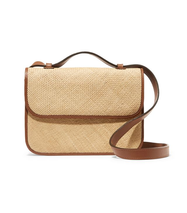 Iraca Raffia and Leather Shoulder Bag