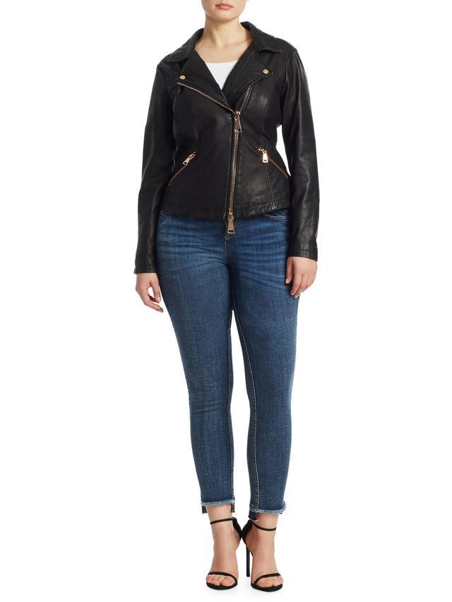 Frayed Step-Hem Skinny Jeans
