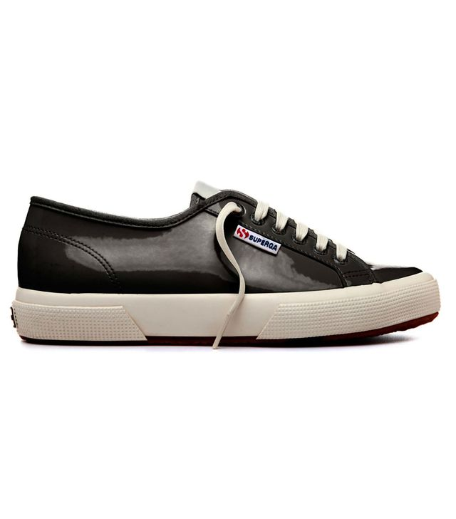 Superga x AlexaChung Black Patent Is a Virtue Low Tops