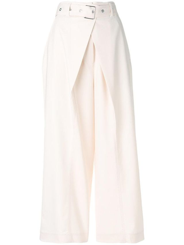 wrap pleat buckled trousers