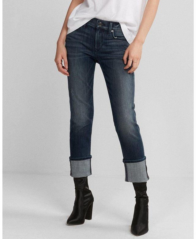 Mid Rise Stretch Cuffed Cropped Skinny Jeans