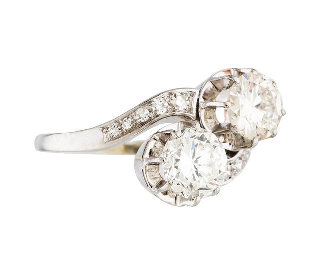 Vintage 18K Diamond Two-Stone Ring