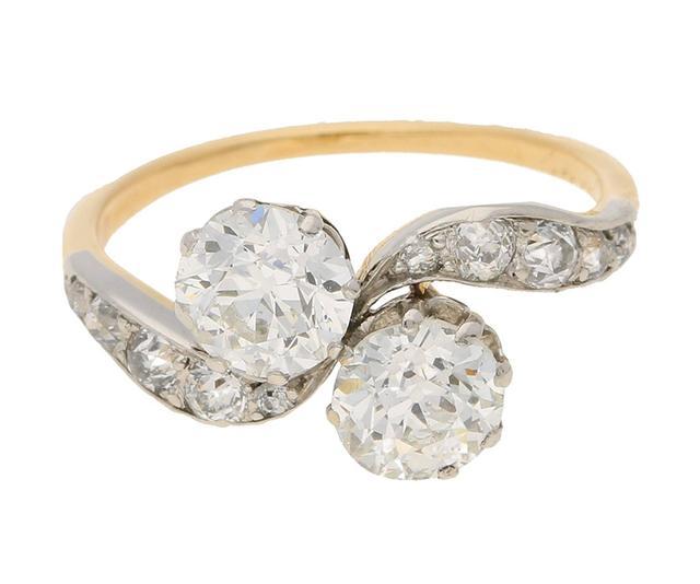 Vintage Edwardian Two-Stone Twist Diamond Engagement Ring
