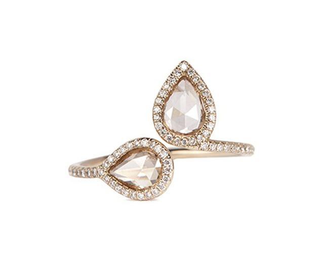 Monique Pean Alteir North-South Diamond 18K White Gold Open RIng