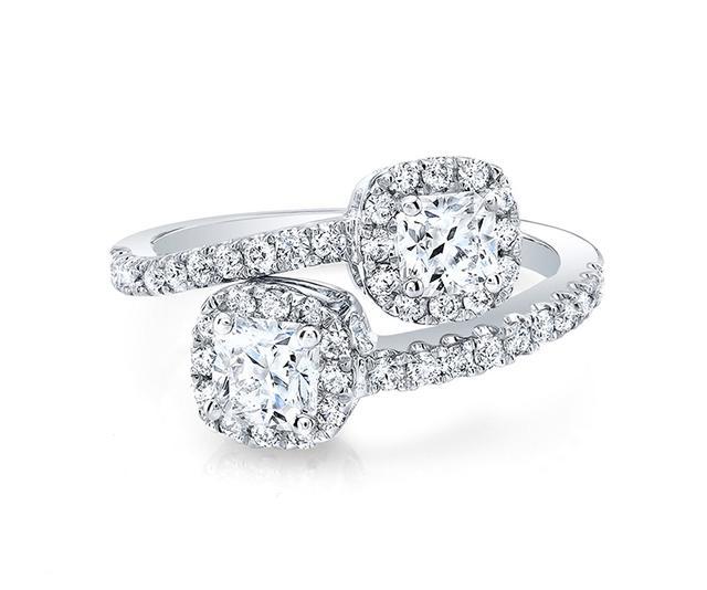 Pavé Bypass Two-Stone Diamond Ring