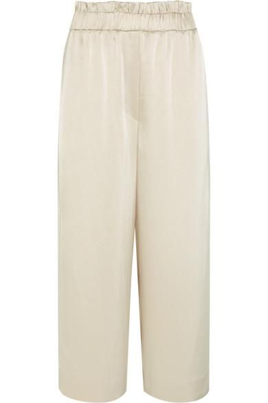 Mesa Cropped Satin Wide-leg Pants