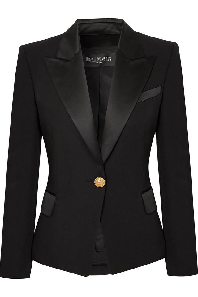 Balmain Satin-Trimmed Wool Blazer
